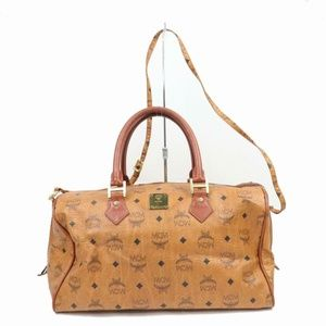 MCM Cognac Visetos Boston with Strap 870701